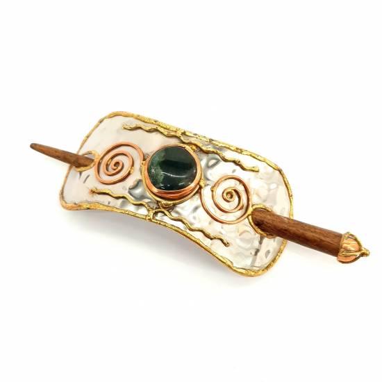 Hair clip with jasper