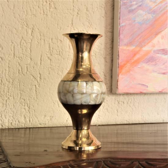 Vase. brass, pearl