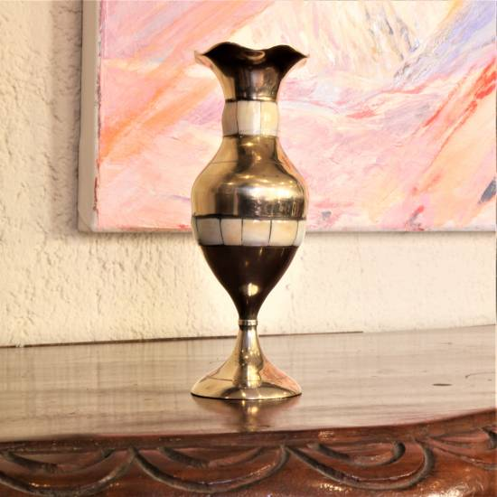 Vase. Brass , mother of pearl